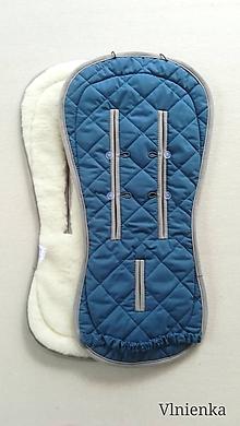 Textil - MERINO podložka do kočíka BUGABOO Bee / Buffalo / Cameleon / Donkey / FOX 100% WOOL Seat Liner INDIGO modrá - 10960349_