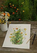 Obrazy - Obraz Žlté lúčne kvety, tlač A4 - 10960528_
