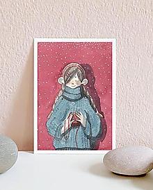 Papiernictvo - Vianočná pohľadnica s dievčaťom - 10949019_