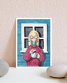 Papiernictvo - Vianočná pohľadnica s dievčaťom - 10961361_