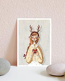 Papiernictvo - Vianočná pohľadnica s dievčaťom - 10961449_