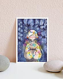 Papiernictvo - Vianočná pohľadnica s dievčaťom - 10961469_