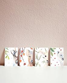 Papiernictvo - Set vianočných pohľadníc so zvieratkami - 10961536_