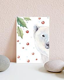 Papiernictvo - Vianočná pohľadnica s medveďom - 10961560_