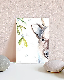 Papiernictvo - Vianočná pohľadnica so sobom - 10961574_