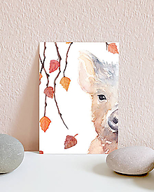Papiernictvo - Vianočná pohľadnica s diviačikom - 10961592_