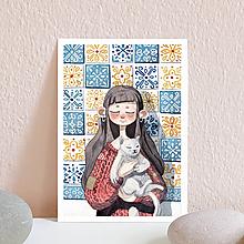 Papiernictvo - Pohľadnica- dievča s mačkou - 10961827_