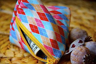 Peňaženky - Peňaženka pyramída – farebné kosoštvorce - 10961498_