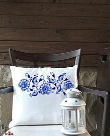 """Úžitkový textil - Vankúš s """"modrotlačou"""" (obliečka + vankúš) - 10962870_"""