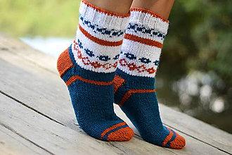 Obuv - petrolejové ponožky s nórskym vzorom (v.4O-42) - 10962685_