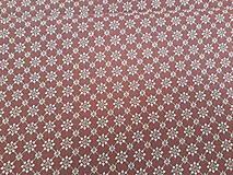 Textil - Vínová s bielym kvietkom š.140 - 10960605_