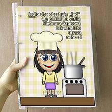 Papiernictvo - Vtipný receptár s vlastnou karikatúrou (skromné žieňa) - 10962545_