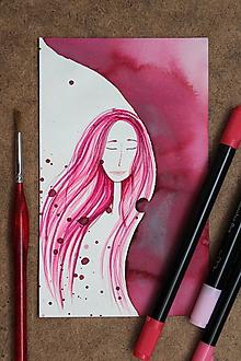 Obrazy - ilustrácia - duša ženy /4 - V ZÁVOJI - originálna maľba - 10963419_
