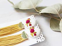 Náušnice - Cyklaménové ruže so strapcom - 10963849_