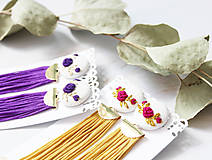 Náušnice - Fielové ruže so strapcom - 10963874_