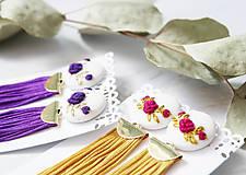 Náušnice - Fielové ruže so strapcom - 10963875_