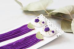 Náušnice - Fielové ruže so strapcom - 10963877_