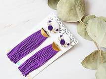 Náušnice - Fielové ruže so strapcom - 10963878_