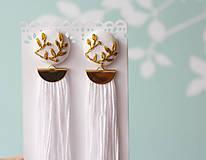 Náušnice - Svadobné náušnice s vyšívanými lístkami - 10963892_