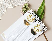 Náušnice - Svadobné náušnice s vyšívanými lístkami - 10963894_