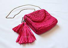 Kabelky - Ružová háčkovaná kabelka - 10965320_
