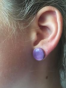 Náušnice - fialové gombičky/keramika/ - 10963750_