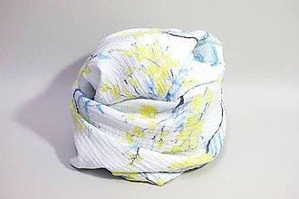 Textil - FLORAL gázovinová prikrývka - Mimóza - 10964606_