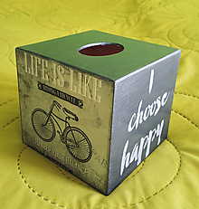 Krabičky - Zásobník na vreckovky- Life is like riding a bicykle - 10964432_