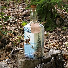 Iné - Poľovnícka fľaša Zimná krajinka - 10965135_