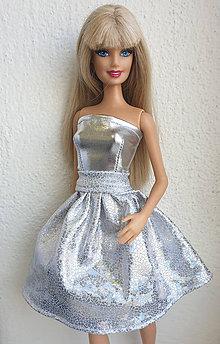 Hračky - Glitter strieborná sukňa pre Barbie - 10964951_