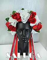 Ozdoby do vlasov - Folklórna parta - kvetinová - červená - biela - folk - 10964183_