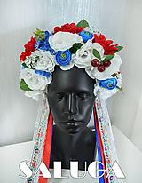 Ozdoby do vlasov - Folklórna parta - kvetinová - červená - biela - modrá - folk - 10964206_
