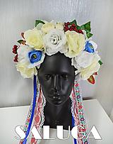 Ozdoby do vlasov - Folklórna parta - kvetinová - modrá - červená - biela - folk - 10964210_