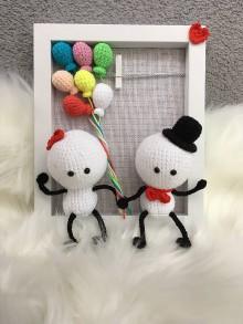 Darčeky pre svadobčanov - Háčkované postavičky v rámčeku - 10964819_