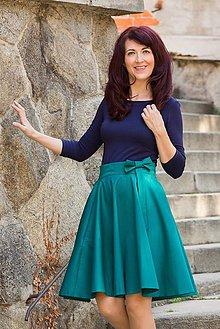 Sukne - Kruhová smaragdová sukňa s vreckami Lovely - 10965156_