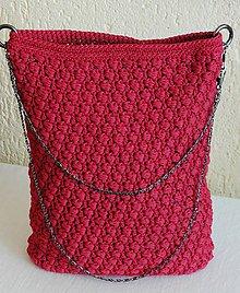 Kabelky - Handmade háčkovaná kabelka červená - 10964775_