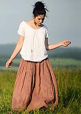 Lněná maxi sukně s tiskem - světlá terakota