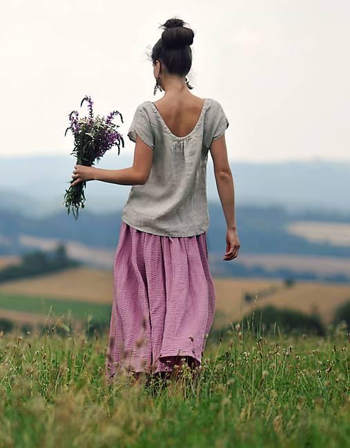 Maxi sukně z mušelínu - růžovofialová