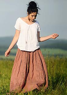 Sukne - Lněná maxi sukně s tiskem - světlá terakota - 10963797_