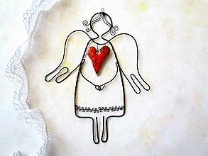 Dekorácie - Pokojný anjel *17 cm (Červená) - 10965070_