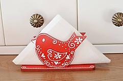Dekorácie - Červený vtáčikový stojan na servítky - 10967256_