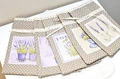 Úžitkový textil - Na levanduľu hnedo fialové vrecká - 10967265_