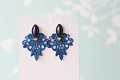 Náušnice - Jemné náušnice s čipkou. Kráľovská modrá - 10967326_