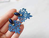 Náušnice - Jemné náušnice s čipkou. Kráľovská modrá - 10967327_