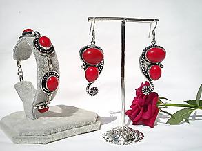 Sady šperkov - Sada šperkov/Koral/striebro Ag 925 - 10965514_