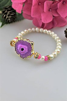 Náramky - achát drúza a perly náramok luxusný - 10967074_