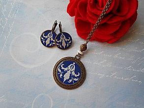 Sady šperkov - Modro-biely ornament IV. - 10967483_