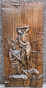 Obrazy - Drevorezba Ježiš pokrstený v Jordáne - 10967497_