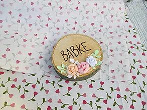 Darčeky pre svadobčanov - Drevené placky/kolieska s vypáleným nápisom a ružičkami - rôzne (BABKE) - 10966164_