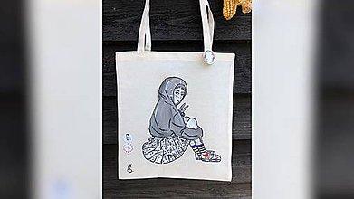 Iné tašky - ♥ Plátená, ručne maľovaná taška ♥ - 10965596_